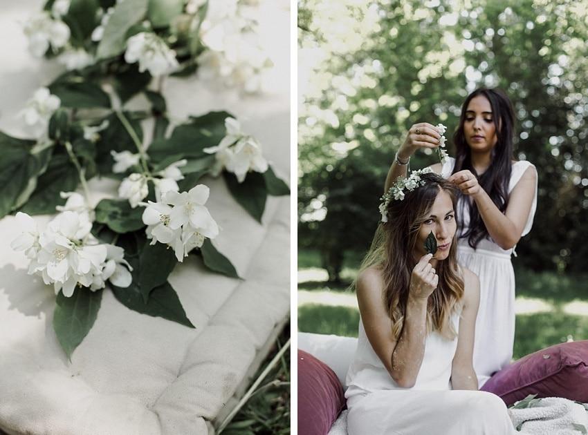 evjf campagne bordeaux fleurs