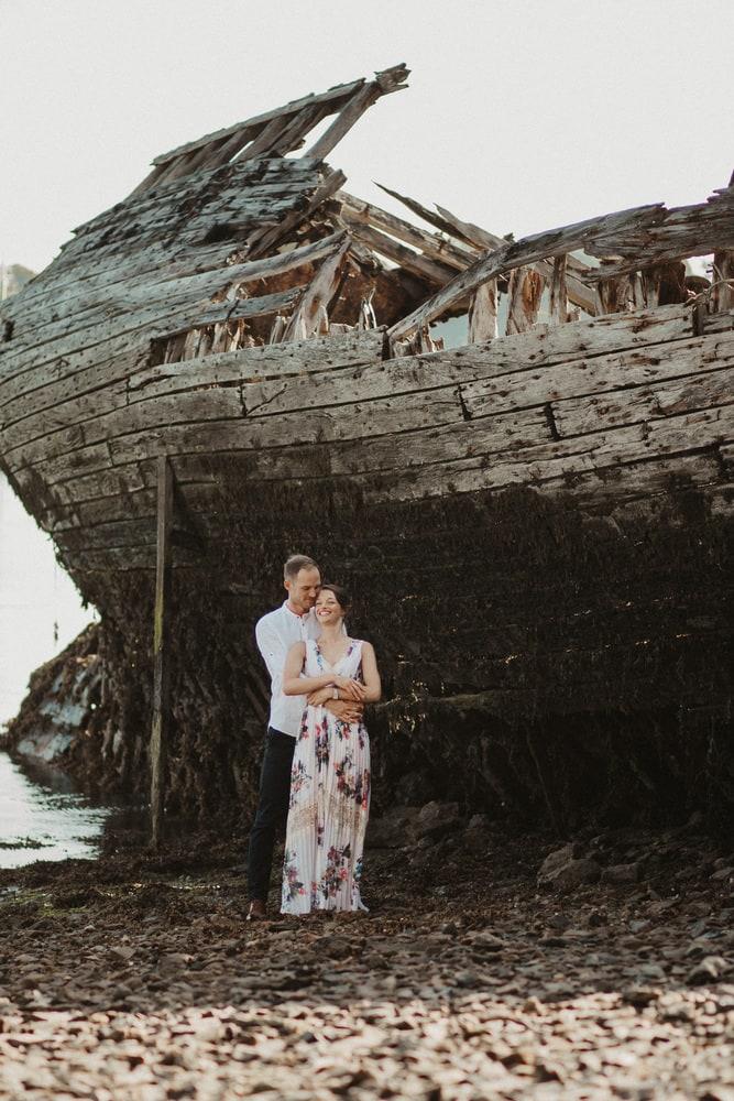 amoureux plage bateau